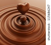 Dark chocolate heart symbol as a liquid drop background illustration - stock photo