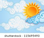 cartoon style sun and clouds
