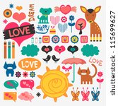 sweet various scrapbook... | Shutterstock .eps vector #115699627