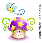 whimsical cute kawaii cartoon... | Shutterstock . vector #115715443