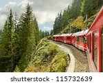 Red train from Tirano to the Switzerland. - stock photo