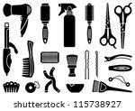 hairdresser's accessories | Shutterstock .eps vector #115738927