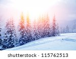 beautiful winter landscape with ... | Shutterstock . vector #115762513