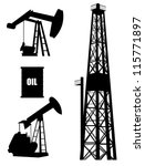 Oil well silhouette set