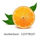 juicy half of orange with leaves | Shutterstock .eps vector #115778137