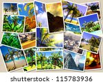 Hawaiian paradise collage postcards - stock photo
