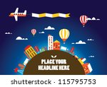hot air balloon in the sky... | Shutterstock .eps vector #115795753
