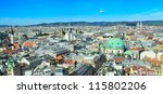 Panorama of Vienna from St. Stephen's Cathedral - stock photo