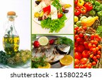 Fresh fishes with lemon, parsley and spice of Aegean sea - stock photo