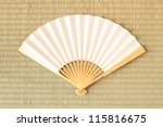 Tatami and Folding fan - stock photo