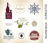 Vintage label set for restaurant and cafe - stock vector