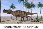 runnig cerantosaurus in araucaria tree grove - stock photo