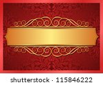 red and gold background with ornaments - stock vector