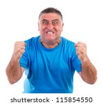 Man with nervous crisis isolated on white background - stock photo