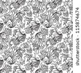 Floral seamless pattern. Can be used for wallpaper, pattern fills, web page background, surface textures, textile. Hand-drawn vector pattern. - stock vector