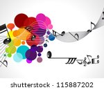 abstract colorful musical wave vector illustration - stock vector