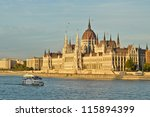 The Hungarian Parliament Building at sunset - stock photo