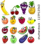 cartoon fruits and vegetables... | Shutterstock .eps vector #115913563