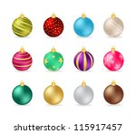 christmas baubles | Shutterstock .eps vector #115917457