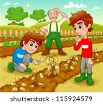 Funny scene in the vegetable garden. Vector and cartoon illustration. - stock vector