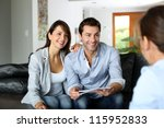couple meeting consultant for... | Shutterstock . vector #115952833