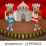Twins are acting on the stage. Vector and cartoon illustration. - stock vector