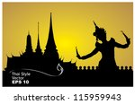 thai dance woman with temple in ... | Shutterstock .eps vector #115959943