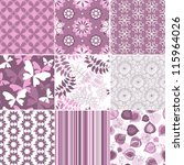 Set geometric and floral seamless pastel  pink-white patterns (vector) - stock vector