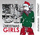 lovely christmas girl on a... | Shutterstock .eps vector #115965667