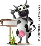 cute cow cartoon with blank sign | Shutterstock .eps vector #115967293