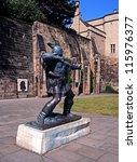 bronze statue of robin hood...