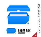 Blue Cardboard Shoes Box Carto...