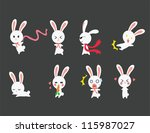 Cute rabbits emotional icons, create by vector - stock vector