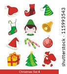 colorful christmas set with... | Shutterstock .eps vector #115993543
