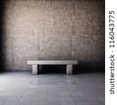 Abstract grunge interior with concrete bench - stock photo