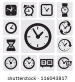 Vector Black Clocks Icons In...