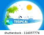Tropical abstract background. Vector illustration - stock vector