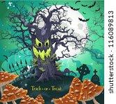 terrible halloween cartoon tree ... | Shutterstock .eps vector #116089813