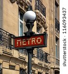 metro sign  paris  france ... | Shutterstock . vector #116093437