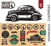 vintage car garage labels and... | Shutterstock .eps vector #116098063