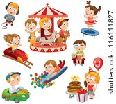 amusement park. set. children... | Shutterstock .eps vector #116111827