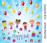 happy kids with balloons gift... | Shutterstock .eps vector #116162053