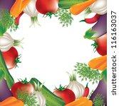 tomato carrot onion  over white ... | Shutterstock .eps vector #116163037