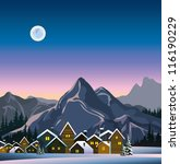Winter landscape with snow houses, mountains and full moon - stock vector