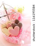 Heart shape cookie in gift box for valentine day image - stock photo