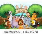 illustration of zoo and animals ... | Shutterstock .eps vector #116211973