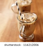 Iced coffee with copyspace composition - stock photo