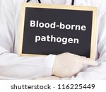 Doctor shows information: blood-borne pathogen - stock photo