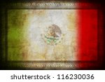Grunge Mexico flag with frame - stock photo
