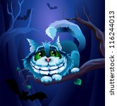 bats,blue,cartoon,cat,cheshire,dark,darkness,fairy,forest,leaves,legend,lewis carroll,night,smile,tale